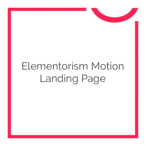 Elementorism Motion Landing Page 1.0.0