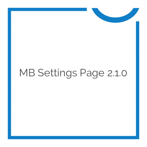 MB Settings Page 2.1.0